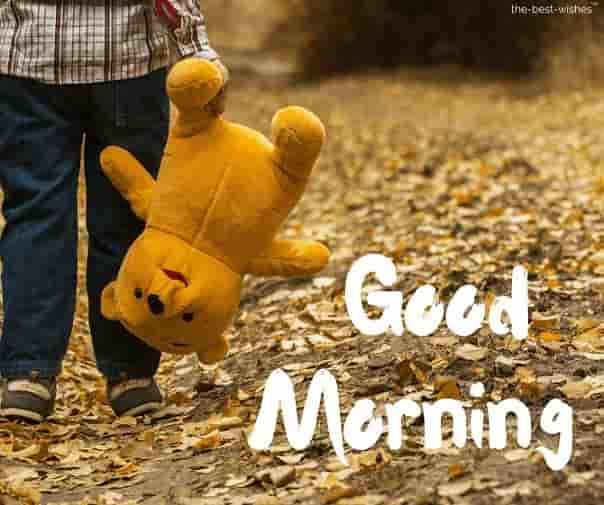 boy walking with teddy bear