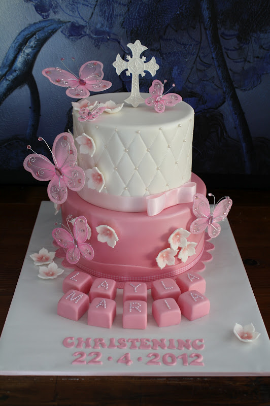 Sandy S Cakes Layla S Pretty Pink Christening Cake