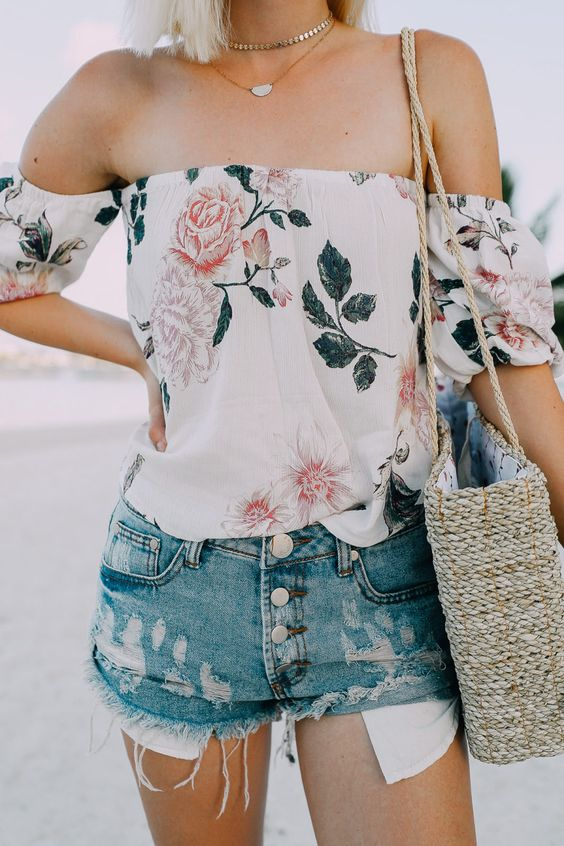 how to style a floral off-shoulder top : bag and denim shorts
