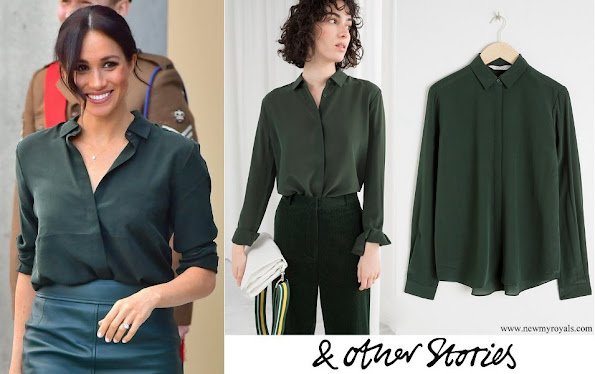 Meghan Markle wore & Other Stories dark green straight fit silk shirt