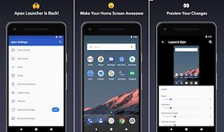pada kesempatan kali ini aku akan membagikan sebuah aplikasi android untuk menciptakan tampi Apex Launcher - Customize, Secure, and Efficient Pro v4.8.1 [Final] Apk