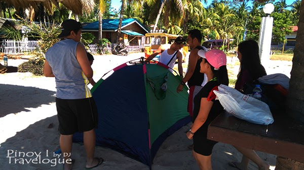 Pitched tent in Santiago White Beach