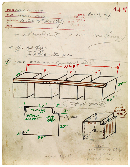 drawing Donald Judd  Bernstein Bros. Fabrication drawing job #44m, 1967 pencil and pen on invoice note paper