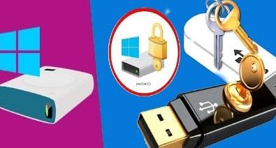 قفل البارتشن بكلمة سر بدون برامج في ويندوز 10