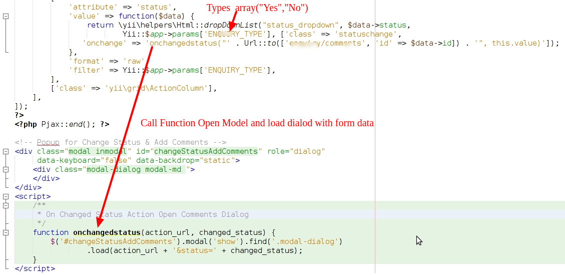 How to create Model Popup in gridview in yii2