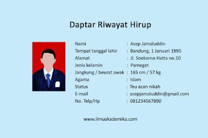 Contoh Riwayat Hidup Bahasa Sunda