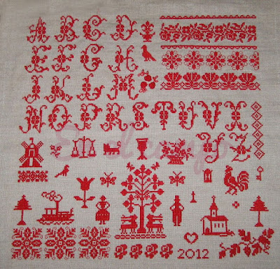 sampler rouge lin point croix lino punto cruz cross stitch red sampler
