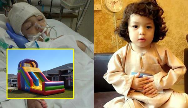SAYU !! Budak 5 tahun ini retak tempurung kepala, sebahagian otak rosak selepas terjatuh dari inflatable bouncer