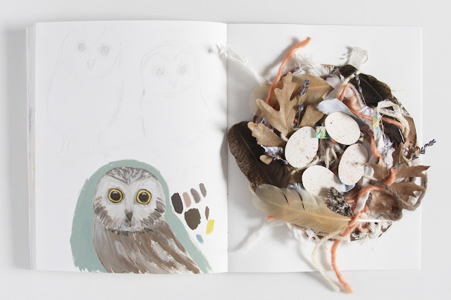 2x2, 2x2 Sketchbook, gouache, collage, mixed media, owls, nests, collaboration, Dana Barbieri, Anne Butera