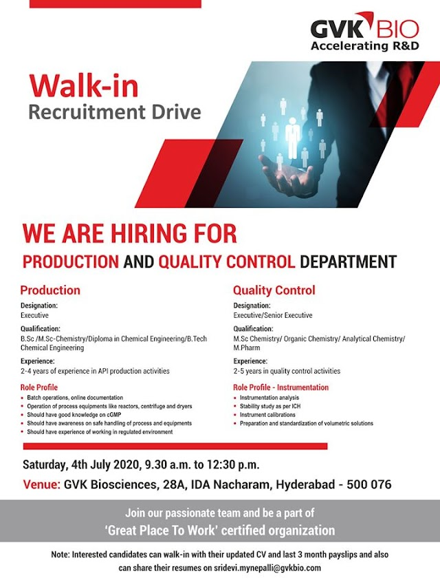 GVK Biosciences Pvt. Ltd Walk in Drive- Production & Quality Control Dept. On 4th July 2020 @ Hyderabad