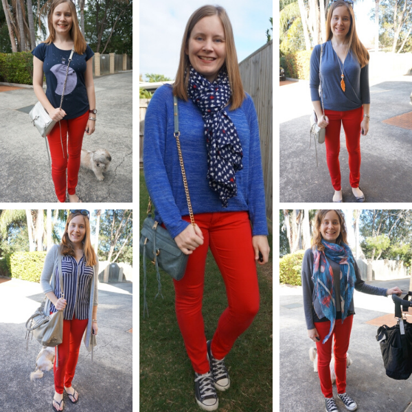 red and blue outfit ideas with skinny jeans | away from blue