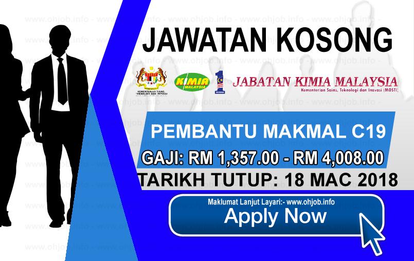 Jawatan Kerja Kosong Jabatan Kimia Malaysia logo www.ohjob.info mac 2018