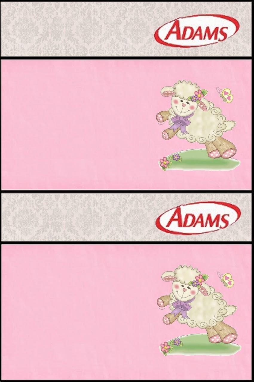 Etiquetas Chicle Adams de Ovejita en Fondo Rosa para imprimir gratis.