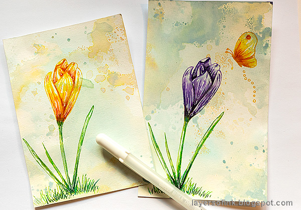 Layers of ink - Crocus in Watercolor and Pencil Tutorial by Anna-Karin Evaldsson. With Simon Says Stamp Thoughtful Flower stamp.