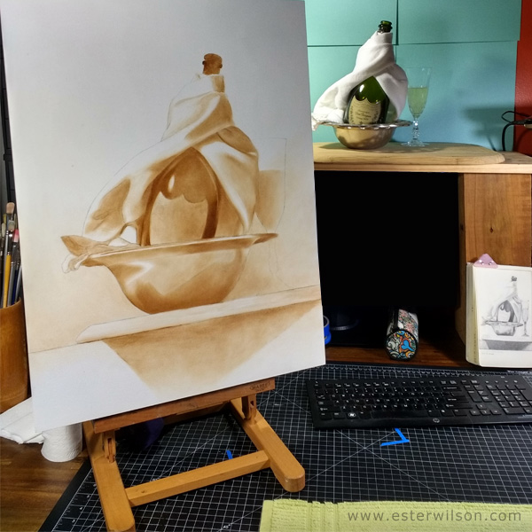 Grisaille oil painting process
