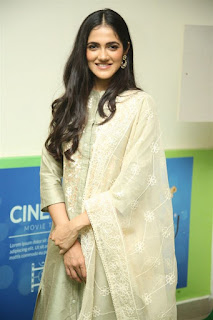 Indian Model Simran Chowdary in Sandal Color Churidar Dress at Sehari Movie Launch Function (1)