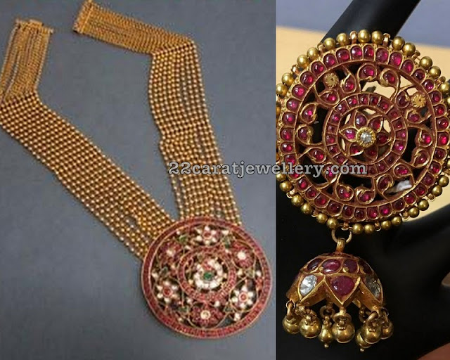 Gold Balls Kundan Set Heavy Ruby Jhumkas