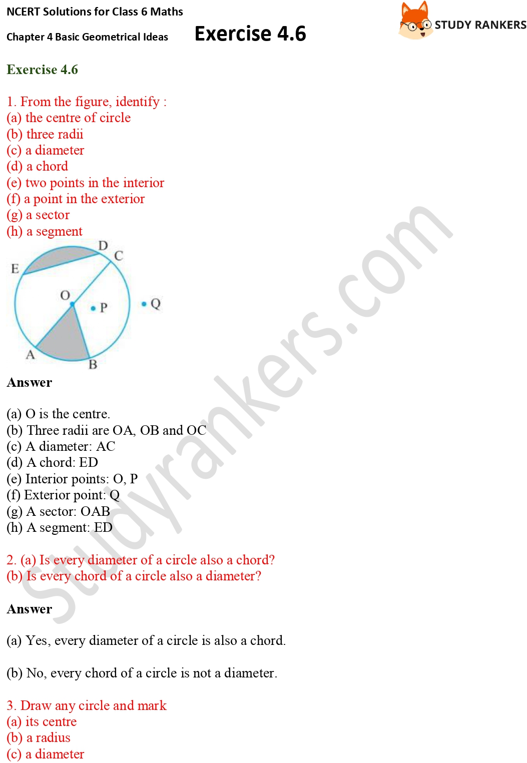 NCERT Solutions for Class 6 Maths Chapter 4 Basic Geometrical Ideas Exercise 4.6 Part 1