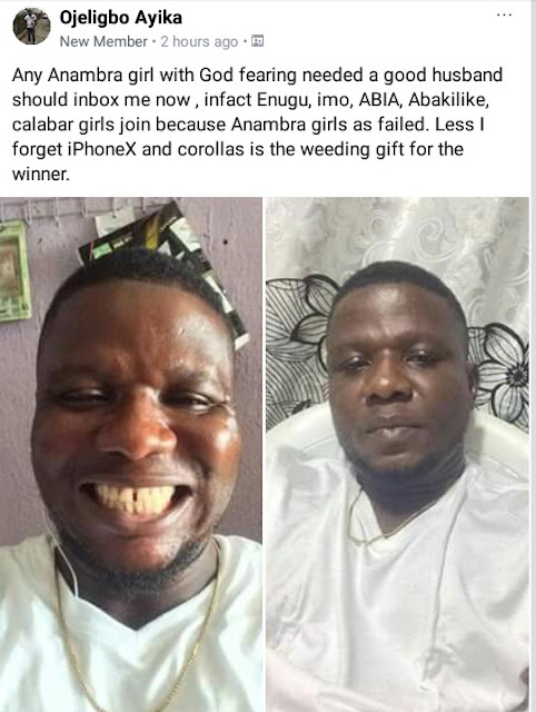 Photos: Nigerian man looking for a life partner; says he will give her iPhoneX and Corolla car as wedding gifts