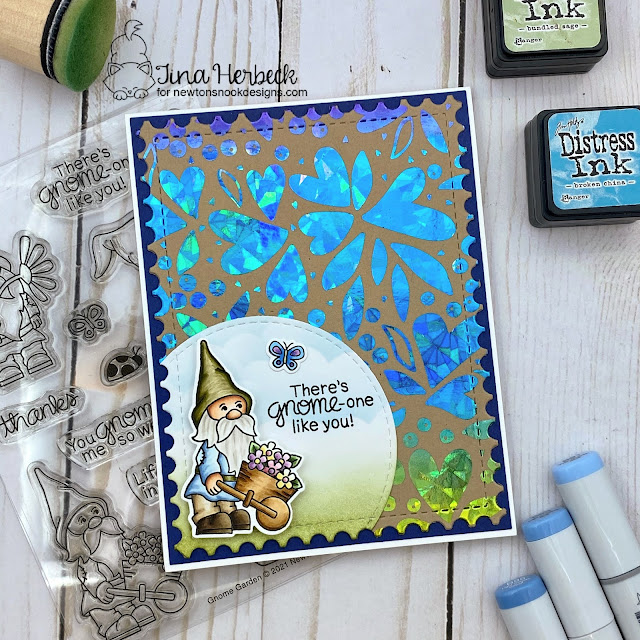 Newton's Nook Designs & Therm O Web Inspiration Week | Kitty Card by Tina Herbeck | Smitten Kitten Stamp, Heart Frames Die Set, Banner Trio Die Set by Newton's Nook Designs with Foils by Therm O Web #newtonsnook #handmade