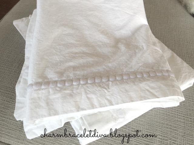 Embroidered white king sized pillow shams