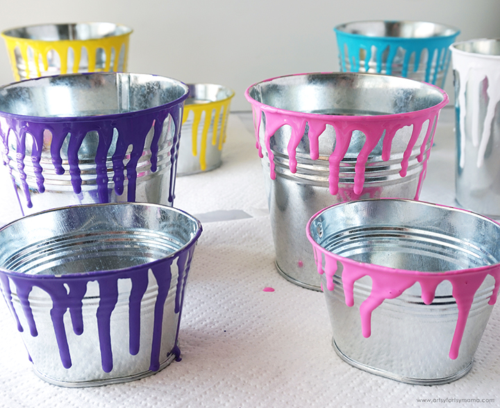 Tin Pails with Paint Drips