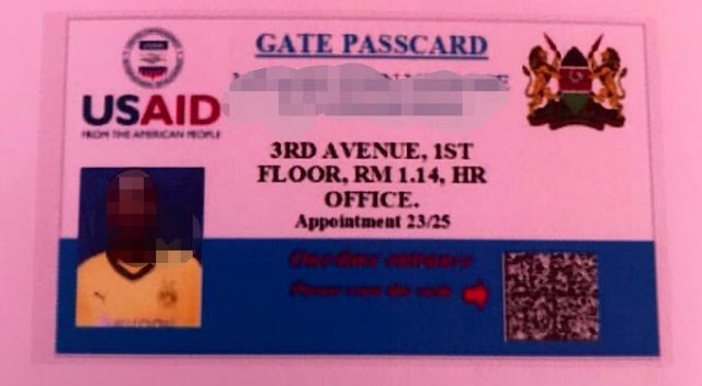 Fake USAID IDs given by the suspect