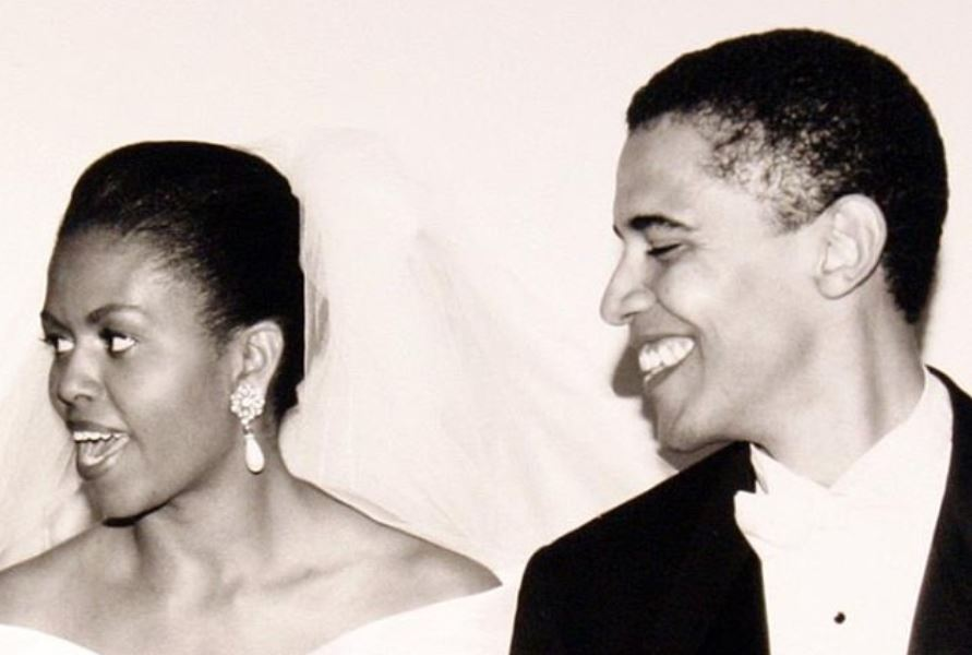 Barack and Michelle Obama on their wedding day on Oct. 3, 1992