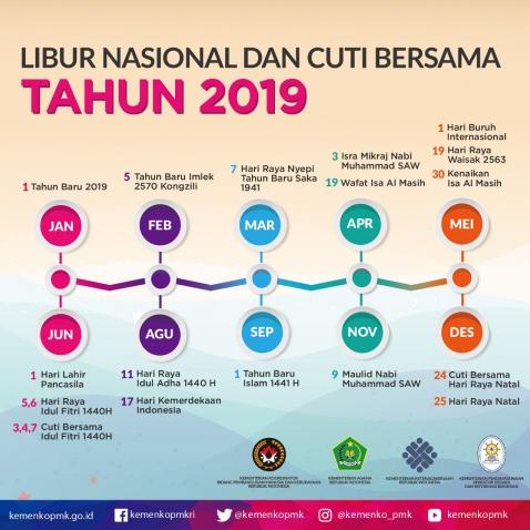 Daftar Hari Libur Nasional Dan Cuti Bersama Tahun 2019