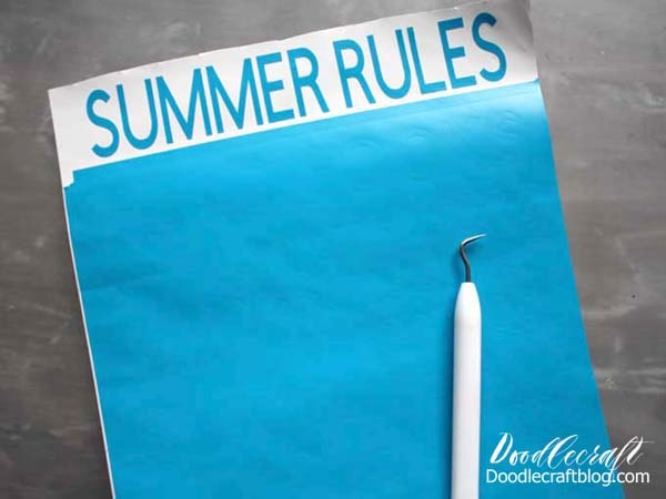 Weed vinyl cut with Cricut Maker to make a Summer Rules Cricut Vinyl Wood Sign DIY