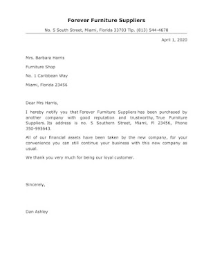 Letter for Business Takeover