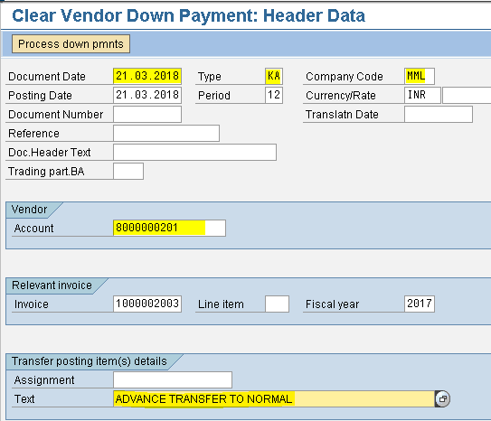 SAP - FICO MODULE LEARNING: Transfer of Advance 25000/- from