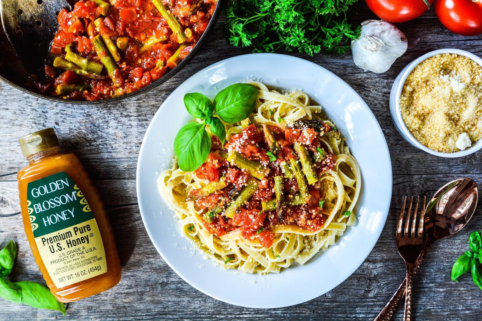 Asparagus and Basil Fettuccine