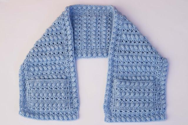1 -Crochet Imagen Bufanda con bolsillos a crochet y ganchillo por Majovel Crochet