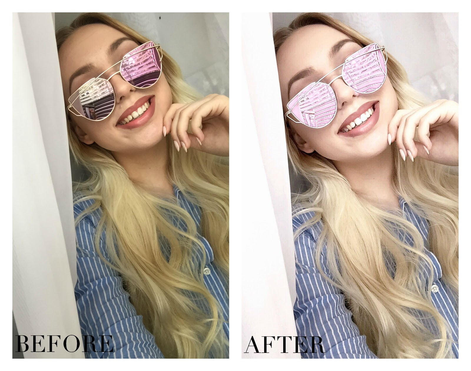 before and after selfie unedited
