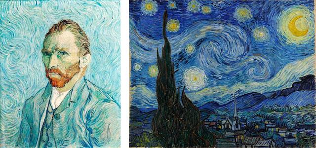 Autorretrato y 'Noche estrellada' de Van Gogh