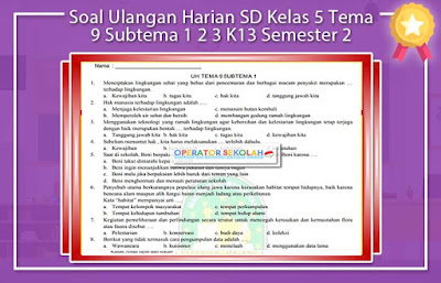 Soal Ulangan Harian SD Kelas 5 Tema 9