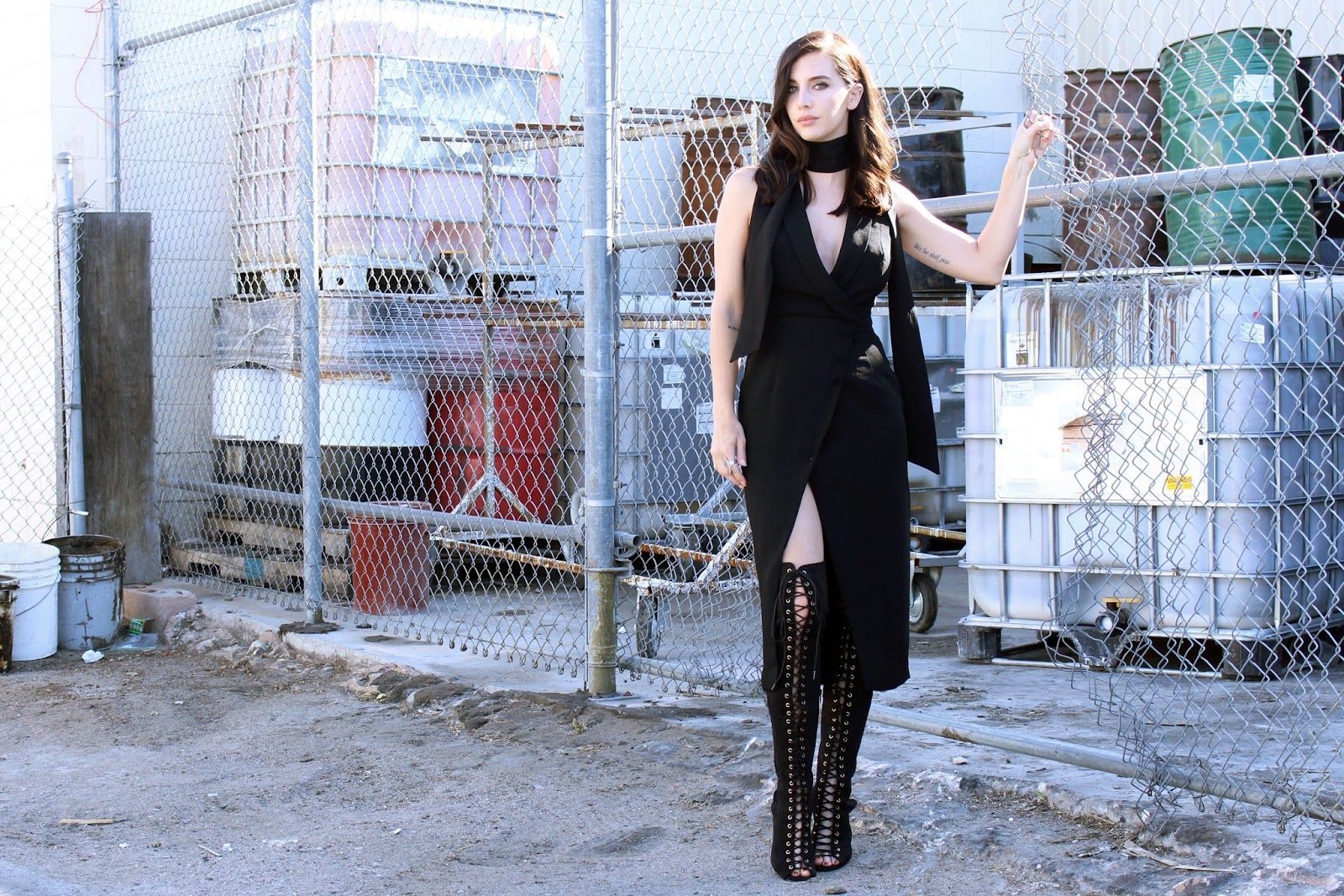 tobi, tuxedo dress, wrap dress, street style, tourdestfu, over the knee boots, lace up boots, skinny scarf, all black outfit, midi wrap dress, layered outfit