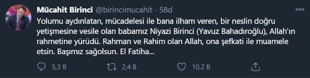 Bir süredir hastanede tedavi gören gazeteci yazar Niyazi Birinci (Yavuz Bahadıroğlu) 21 Ocak 2021'de hayatını kaybetti. Üzücü haberi Yavuz Bahadıroğlu'nun oğlu Mücahit Birinci sosyal medya hesabından duyurdu.