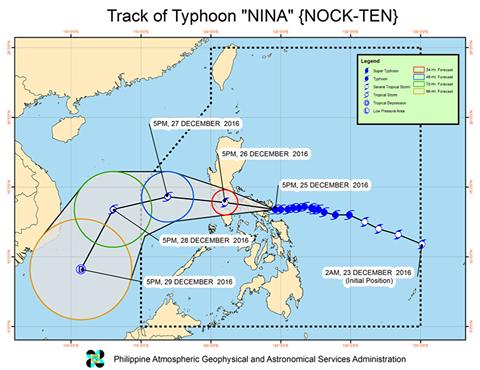 PAGASA Typhoon Nina track