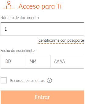 Formulario de acceso a mi cuenta de ING