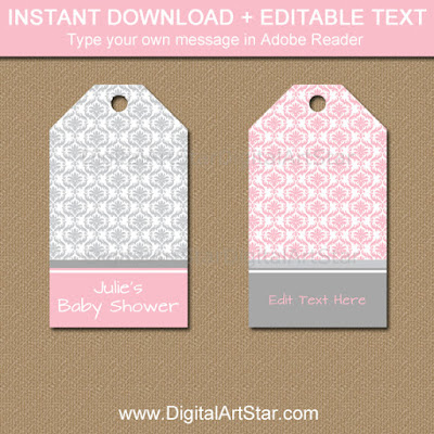 pink and grey damask favor tag template