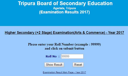Tripura Higher Secondary (+2 Stage) 2017 Examination Results
