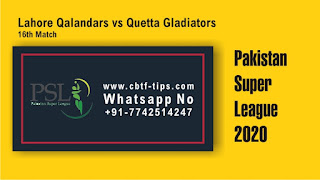 QUE vs LAH Dream11 Prediction: Quetta Gladiators vs Lahore Qalandars Best Dream11 Team for 16th T20 Match