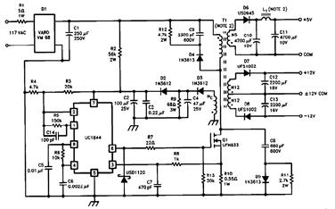 UC2842-Multiple-Flyback-Regulator-Circuit-Diagram