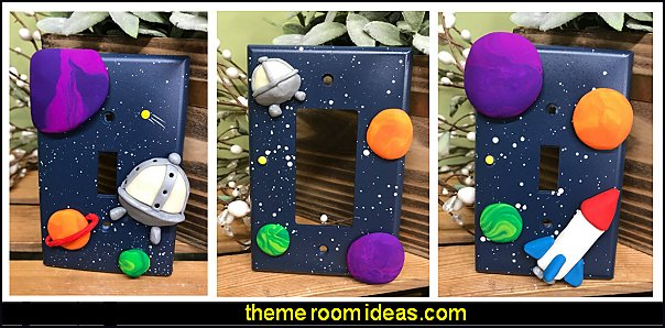 outer space Rocket Ship Switch Plate Covers spaceship Switch Plate Cover