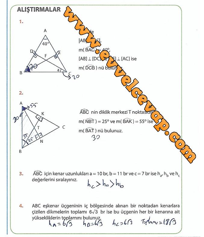 9.Sınıf Matematik MEB Yayınları Ders Kitabı 256.Sayfa Cevapları Üçgenler