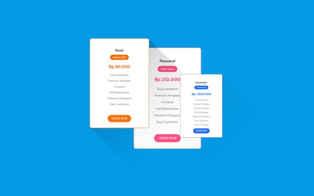 Cara Membuat Pricing Section Card/kotak Harga dengan Gaya Mewah dan Menarik
