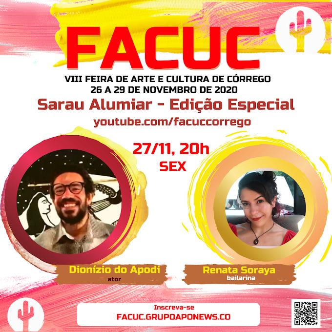 FACUC 2020 terá Sarau Alumiar com Dionízio do Apodi, Renata Soraya e convidados(as)