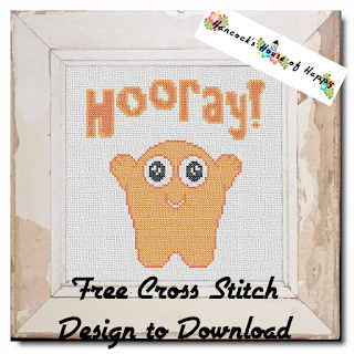 cute orange monster cross stitch pattern to download free